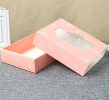 50 Pcs Wedding Gift Box Party Favor Drawer Kraft Paper Box With Window Pink Heart Cookie Candy Cup Cake Boxes And Packaging 50 pcs gift box packaging wedding favor paper cake box cookie candy handmade cupcake birthday party present box with window dots