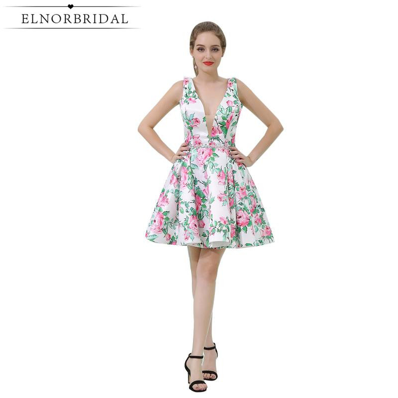 2019 Modest   Cocktail     Dress   Open Back Floral Print Short Prom   Dresses   Deep V Neck Girls Homecoming Gowns Vestido   Cocktail