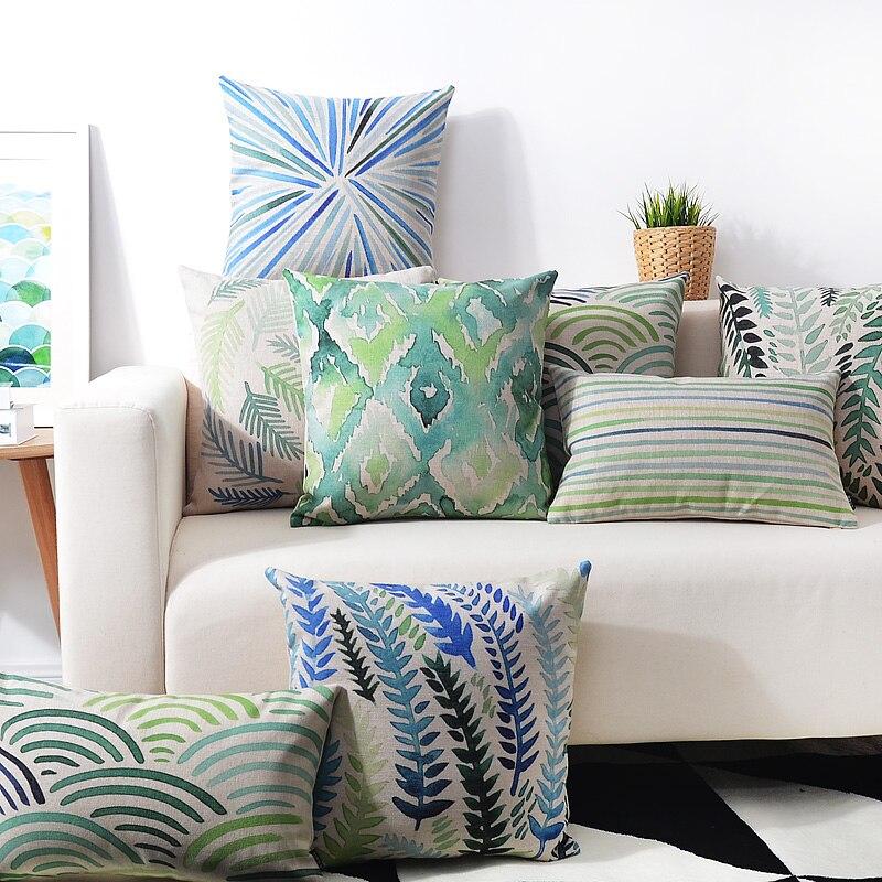 Pastoral Green Watercolor Geometric Pillow Cushions Lumbar Pillow Linen Pillowcase Sofa Cushion Home Decorative Pillows