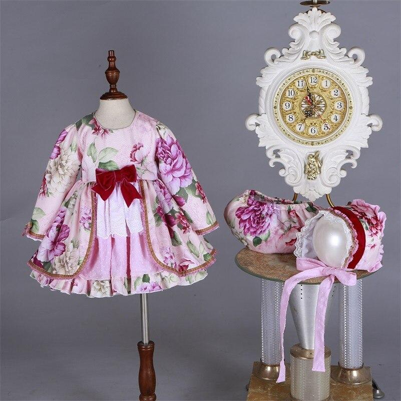 En gros enfants Boutique robe florale pour filles enfants espagnol Palace à manches longues robe ensembles bébé anniversaire mignon robe de bain G046 - 2