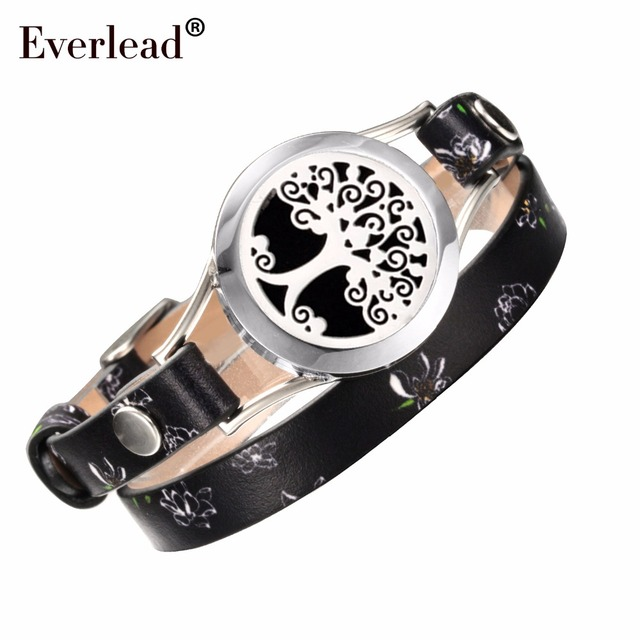 EVERLEAD Unisex aromatherapy Essential Oil diffuser Bracelet/fragrance stainless steel locket bracelet with leather belt UpbY8