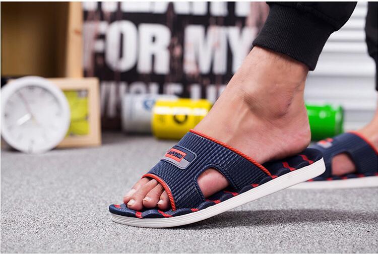 XEK женщины мужчины тапочки новый легкий свободного покроя плед полосы сандалии летняя мода мужские классические вьетнамки мягкий пляжная обувь FM59