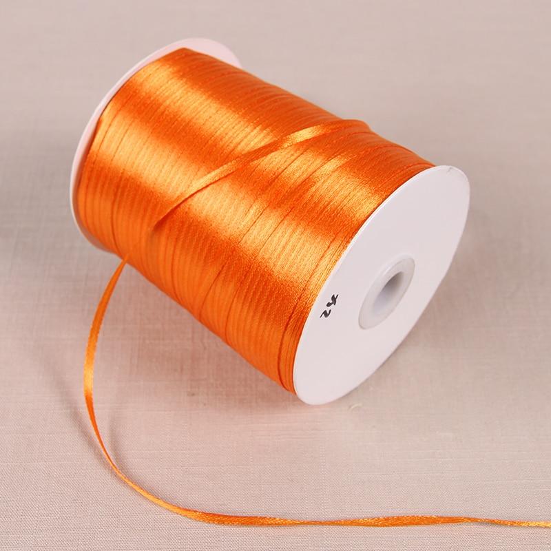 3 мм атласные ленты 22 м/лот DIY ручной работы товары для украшения свадьбы, дня рождения Подарочная упаковка белые ленты - Цвет: Оранжевый