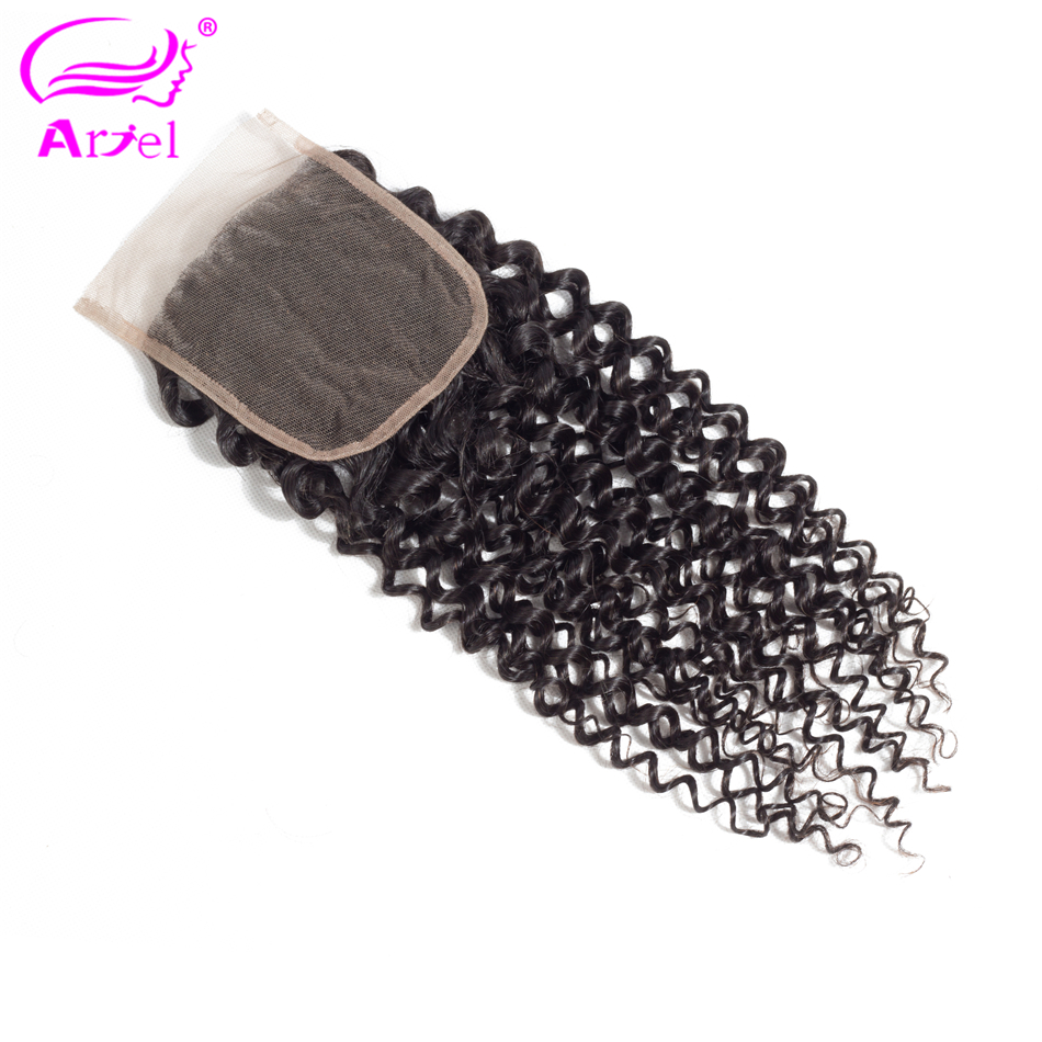 ARIEL 4*4 Malaysian Kinky Curly Human Hair Lace Closure Free Part 130% Density