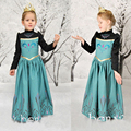 New party dress for girls, embroidery long sleeve, Anna elsa dress for autumn winter baby girls kids dresses D022