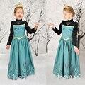 New vestido de festa para meninas, bordado de manga comprida, Anna elsa vestido para o outono inverno do bebê meninas miúdos vestidos D022