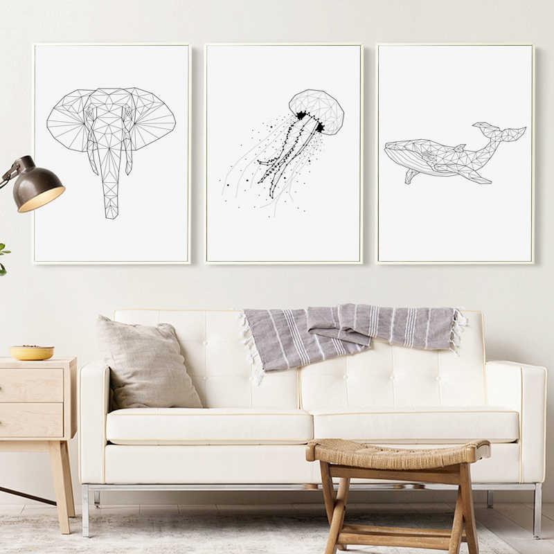 สีดำและสีขาวสายจุดเรขาคณิตสัตว์แมงกะพรุน Whale ช้างภาพวาดผ้าใบพิมพ์ภาพโปสเตอร์ Home Wall Decor