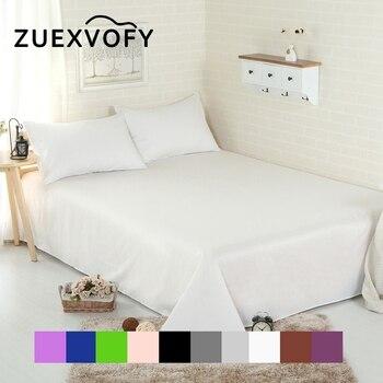 Чистый хлопок роскошный сплошной плоский лист простыня льняные простыни для кровати постельное белье белый черный серый