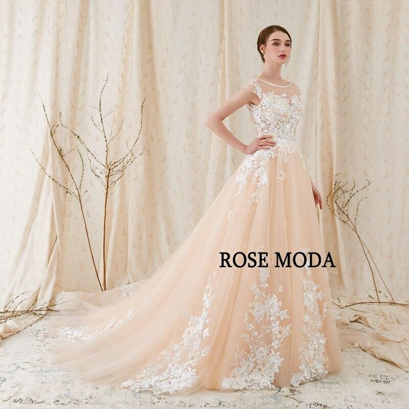 Rose Moda Modern 3D Blommigt Bröllopsklänning Låg V Tillbaka - Bröllopsklänningar - Foto 2