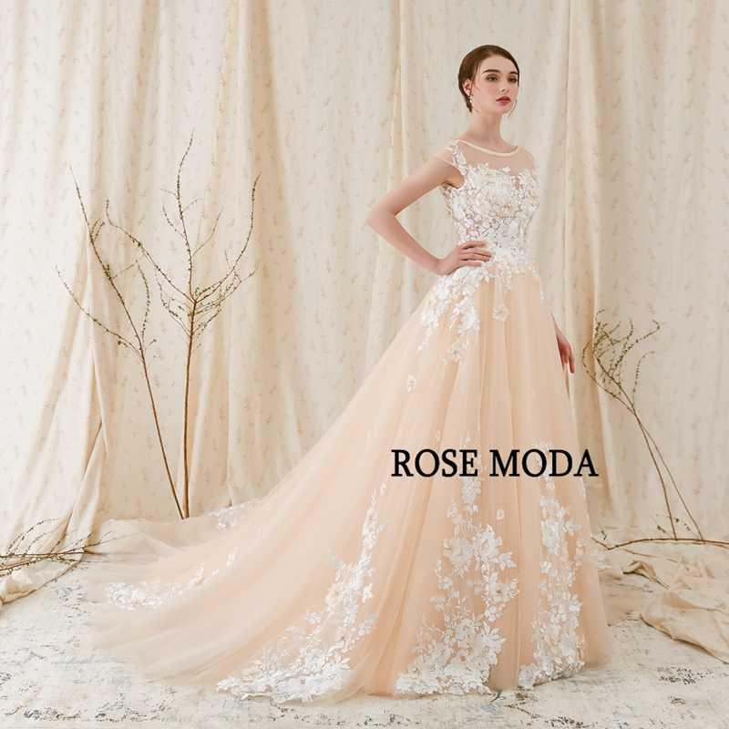 9bd0ba9d6e Rose Moda Modern 3D Floral Lace Wedding Dress Low V Back Ivory over  Champagne Wedding Dresses 2019