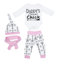 4pcs Set Baby Romper Suits Infant Toddler Boy Girl Letter Print Romper Jumpsuit Pants Hat Headband