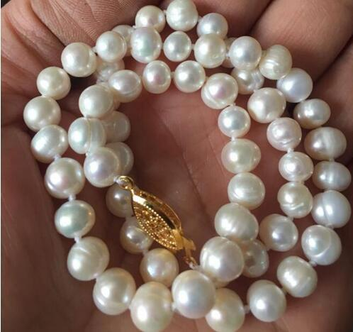 Free Shipping 6-7mm Real Natural White Akoya Cultured Pearl Necklace 17 Inch