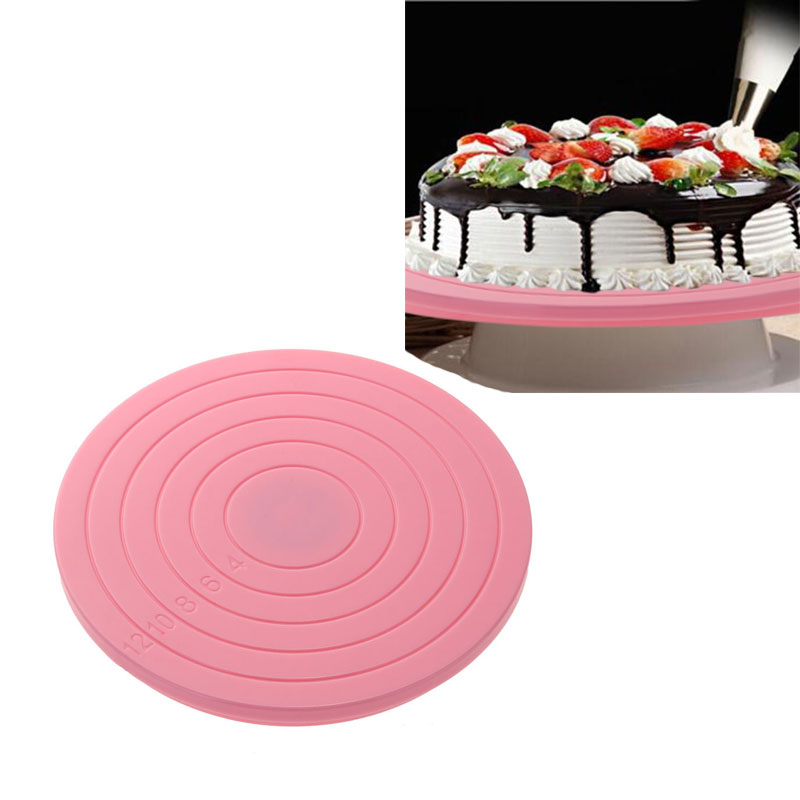 14 X 14 cm Cake Rotating Decorating Turntable Plastic Anti-Slip Cake Stand Craft Turntable Platform Cupcake Revolving Bakeware