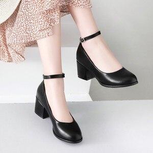 Image 2 - ขนาดใหญ่ขนาด 11 12 13 14 สุภาพสตรีรองเท้าส้นสูงรองเท้าผู้หญิงรองเท้าผู้หญิงปั๊มรอบหัว,ปากตื้น, กลางส้นหนา one word buckle