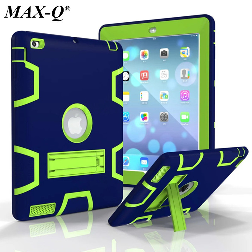 For iPad 2 iPad 3 iPad 4 Case High Impact Resistant Hybrid Three Layer Armor Defender Full Body Protective Case Cover w/ Screen