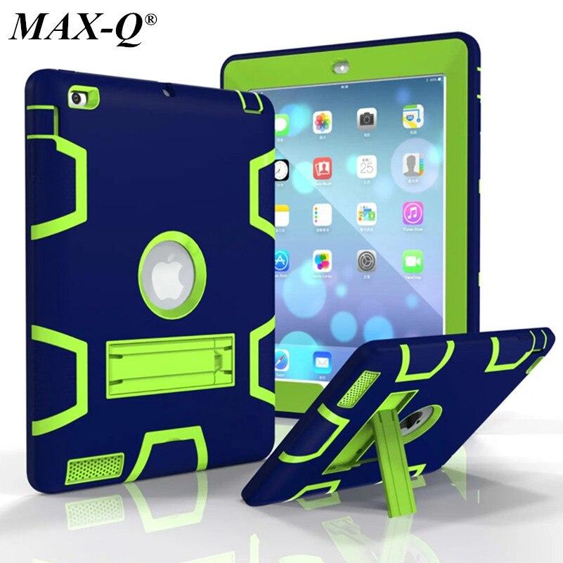 מקס-Q עבור iPad 2 iPad 3 iPad 4 מקרה עמידות גבוהה עמיד היברידית שלושה שכבת מגן מגן מגן גוף מלא מגן PC מקרה