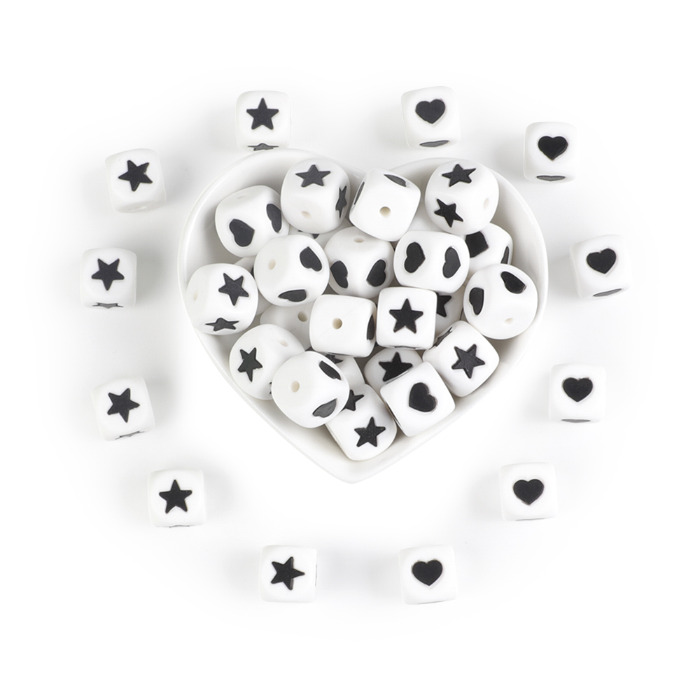 Joepada 10Pcs Silicone Beads Heart Star 12mm Letter Beads Teething Baby Teether Pacifier Chain Toys DIY Necklace Loose Beads
