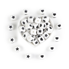 Joepada 10Pcs Silicone Beads Heart Star 12mm Letter Teething Baby Teether Pacifier Chain Toys DIY Necklace Loose