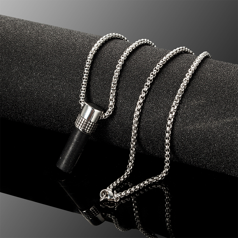 Mens novelty rebellious punk gothic stick pendant Stainless steel chain choker necklace charm jewels