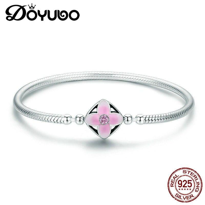 DOYUBO classique femmes 925 Bracelets en argent Sterling pour correspondre à bricolage charmes en argent rose émail fleur charmes Bracelets en argent AE021