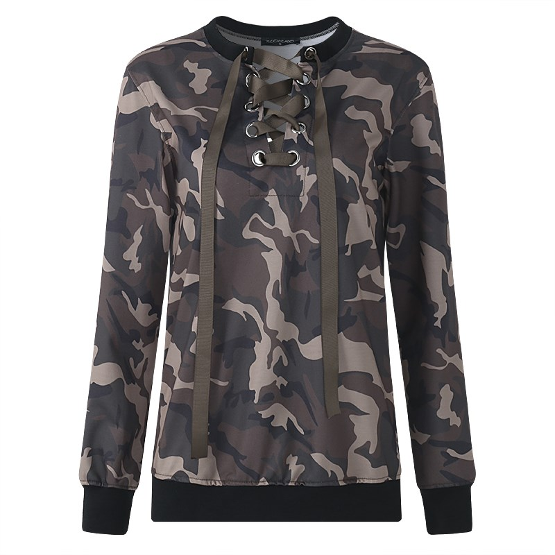2018 Women Autumn Spring Fashion Hoodie Sexy Lace Up French Terry Long Sleeve Pullover Camo Casual Hoody Ladies Outwear 5XL New