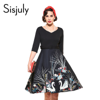 Sisjuly Vintage Autumn Women Dress With Sashes 1950s Festa A Line Dresses Print V Neck Half