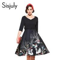 Sisjuly Vintage Autumn Women Dress With Sashes 1950s Festa A Line Dresses Print V Neck Half