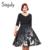 Sisjuly otoño vintage women dress con los marcos 1950 s vestidos de fiesta línea de impresión v-cuello media manga de la vendimia vestidos de las mujeres