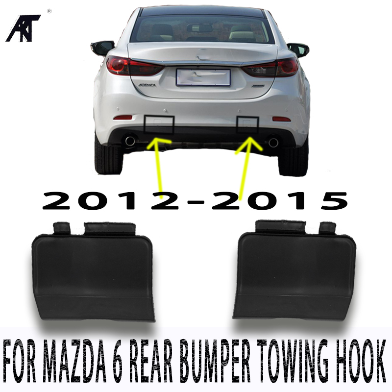 2PCS RH and LH <font><b>rear</b></font> <font><b>bumper</b></font> towing tow hook <font><b>cover</b></font> trailer eye caps for <font><b>MAZDA</b></font> <font><b>6</b></font> 2012-2015 GJR9-50-EK1-51 GJR9-50-EL1-51 image