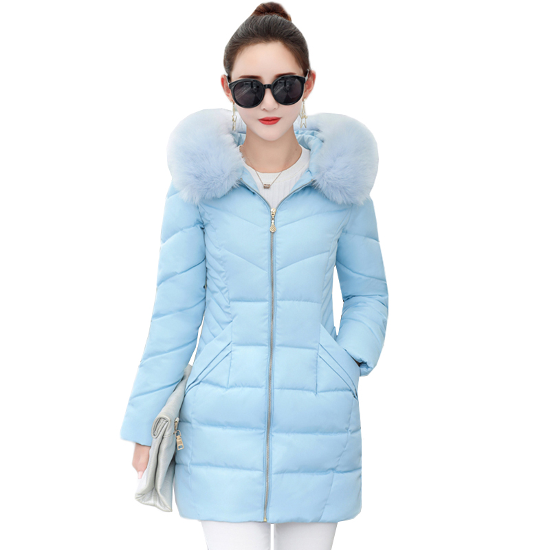 New Winter Jacket Female   Parkas   Hooded Fur Collar Thicken Warm Cotton Clothing Jacket Outerwear Slim Large Size Women Basic Coat