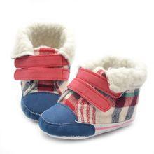 2017 0-18 M Baby Infants Warm Cotton Snow Boots Plaids Crib Shoes Anti-Slip Sneakers