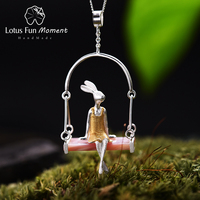 Lotus Fun Moment Real 925 Sterling Silver Natural Mother of Pearl Handmade Fashion Jewelry Miss Rabbit Pendant without Chain