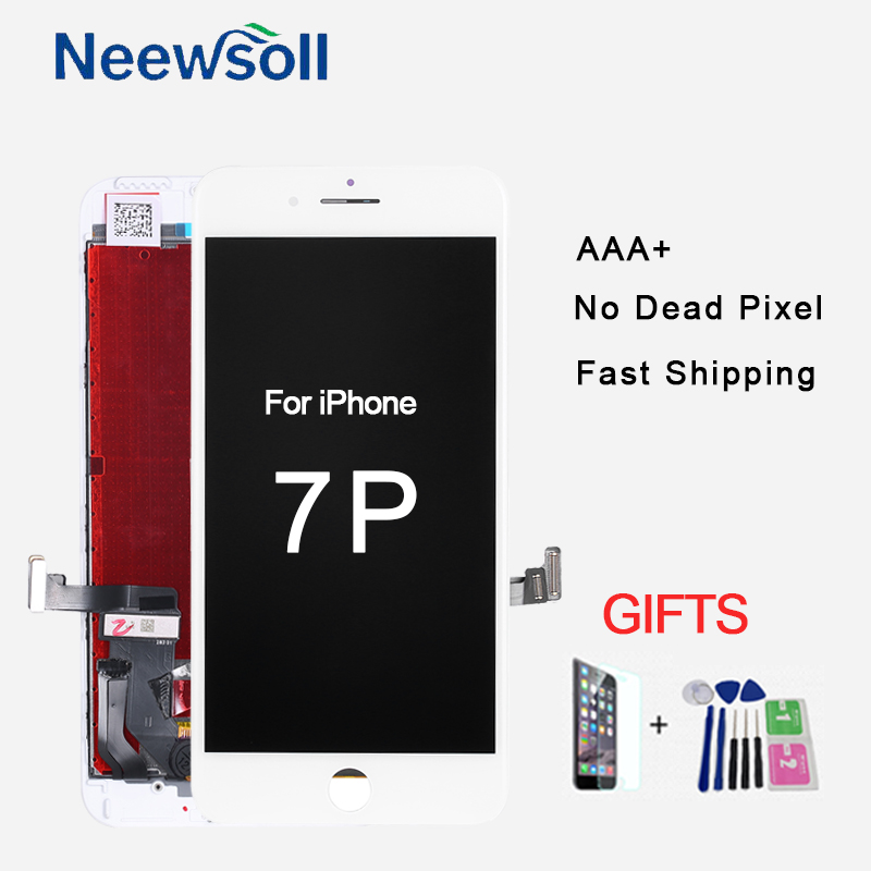 AAA LCD Display for iPhone 7Plus Replacement Screen Digitizer LCDs Touch Panel Assembly Parts With Tempered Glass