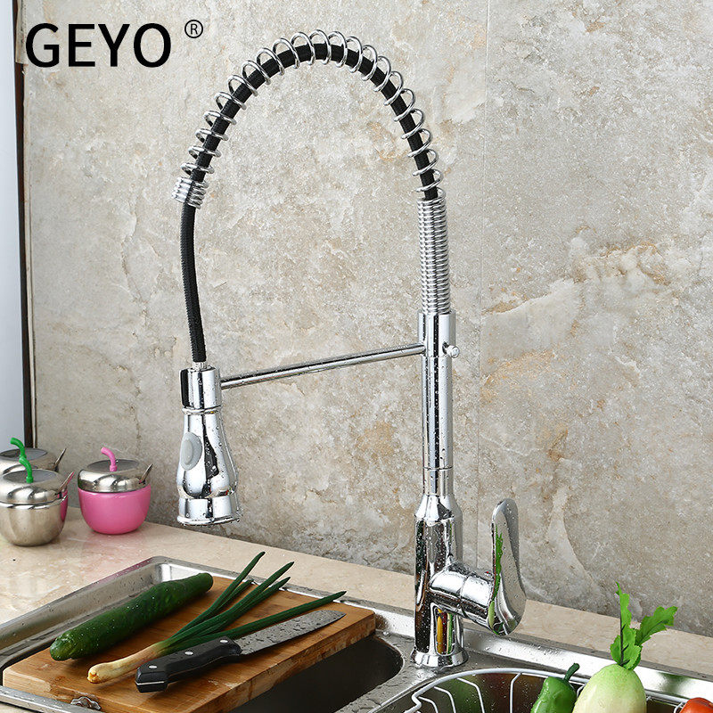 GEYO Kitchen Faucets Brush Brass Faucets for Kitchen Sink Single Lever Pull Out Spring Spout Mixers Tap Hot Cold Water CraneGEYO Kitchen Faucets Brush Brass Faucets for Kitchen Sink Single Lever Pull Out Spring Spout Mixers Tap Hot Cold Water Crane