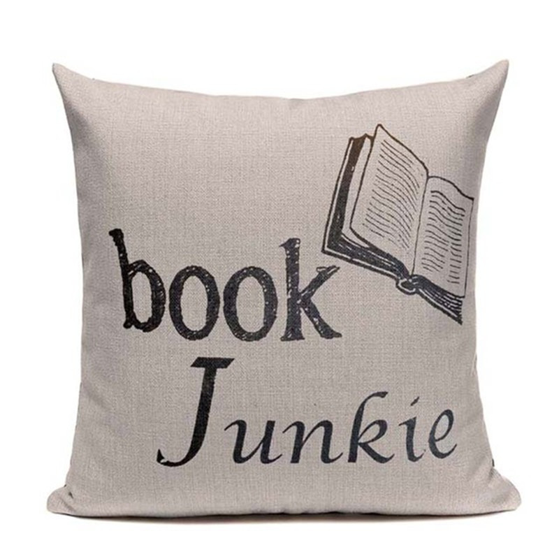 Book Tea Coffee Wine Cushion Cover Cotton Linen Decorative Pillowcase Chair Seat Letter Slang Pillow Cover Home Living Textile in Cushion Cover from Home Garden