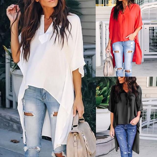 2019 Women Blouses Elegant Fashion Irregular V-Neck Women Chiffon Blouses Soft Tunic Solid Batwing Sleeve Tops Female Shirts 35