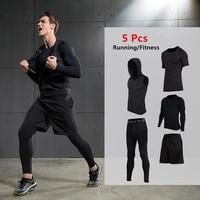 2017 5Pcs Set VANSYDICAL Men S Running Set Training Tracksuits Compression Pants T Shirt Vest Sportswear