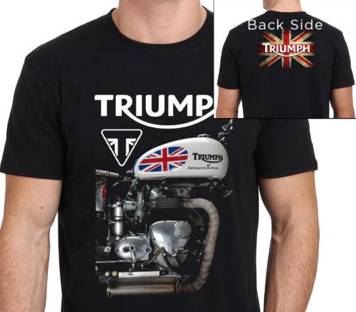 TRIUMPH MOTORCYCLE   T     Shirt   men two sides Triumph vintage printed short sleeve   t     shirt   US plus size S-3XL