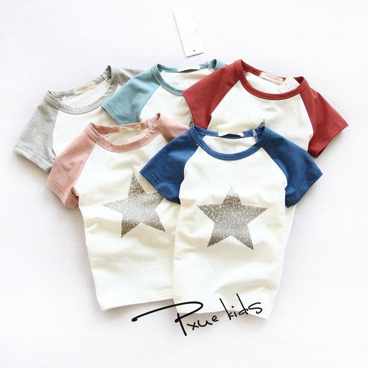 2015 verano nueva venta caliente niños camisetas costura salvaje Coreana de  las estrellas algodón del patrón para las muchachas arropan las camisetas  de las ... bc10920e84931