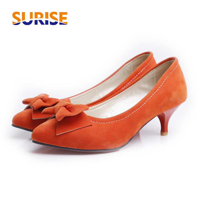 Big Size Casual Bow Women Pumps Low Medium Spike Heel Pointed Toe Flock Summer Office Party Dress Blue Ladies Kitten Heel Shoes lin king fashion lace up women square heel pumps solid flock high heel shoes summer pointed toe office career shoes big size 43