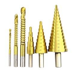 6 sztuk tytanu powlekane krok wiertła zestaw 4-32mm HSS wiertła z otworem rowkowania wiertła piła Carpenter narzędzia do obróbki drewna