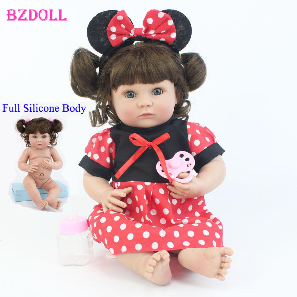 40cm Full Body Silicone Reborn Baby Doll Toy For Kids Soft Vinyl Princess Mini Girl Babies