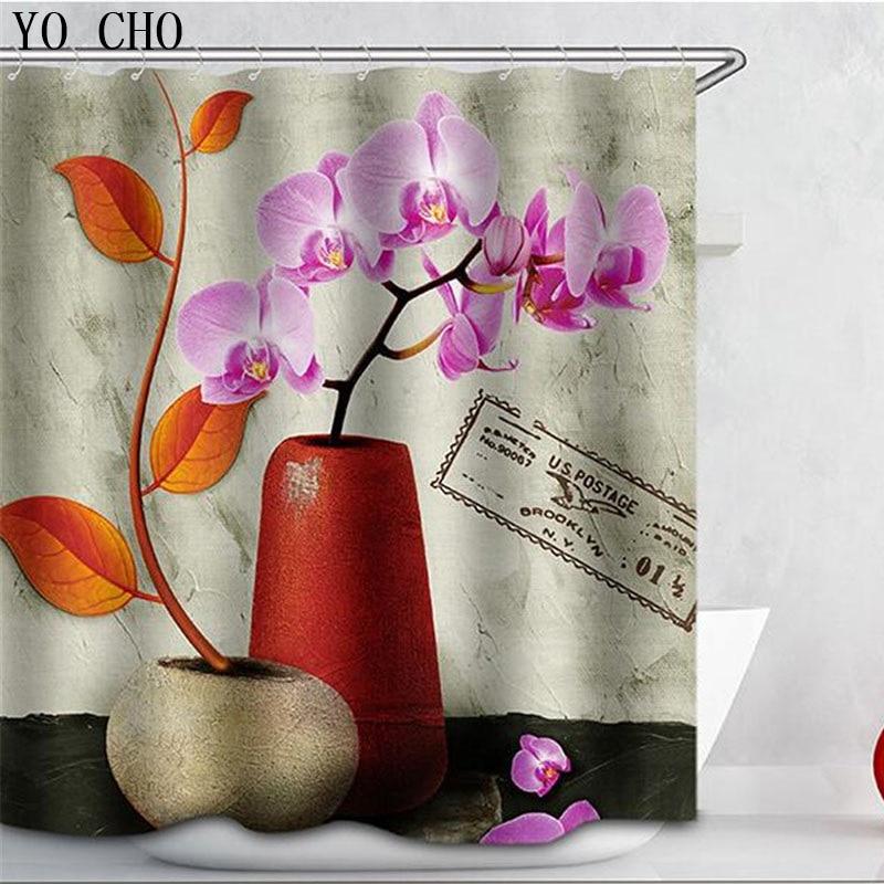 Orchidee Patroon 3d Waterdicht Polyester Douchegordijn Met 12