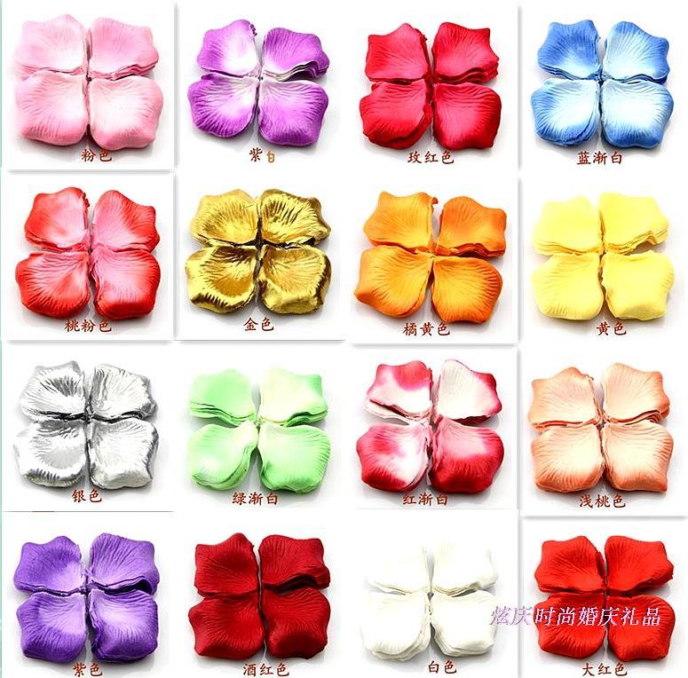 Festive Party Supplies Event Confetti color Silk cloth 5.6*5cm Simulation Rose Petal Flower Wedding Birthday Layout 1200pc/lot