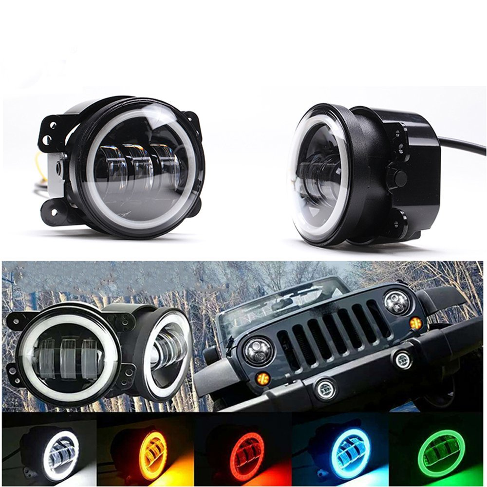 1 pair 4inch Fog Lamps For Jeep Wrangler JK LED Fog Light Kit with Halo White DRL + Amber Turn Signal