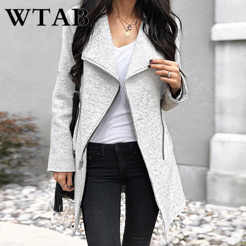 WTAB מזדמן נשים מעיל 2018 סתיו חורף מעיל נשי רוכסנים הלבשה עליונה לעבות צמר מעילי slim veste femme hiver מעיל