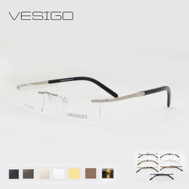 Titanium Glasses Frame Men Rimless glasses high quality silhouette ...