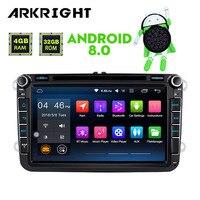 New 8'' 2Din 4GB Ram Car Radio Audio GPS Navigation Head unit DVD For VW Skoda POLO GOLF PASSAT Android 8.0 Multimedia Player