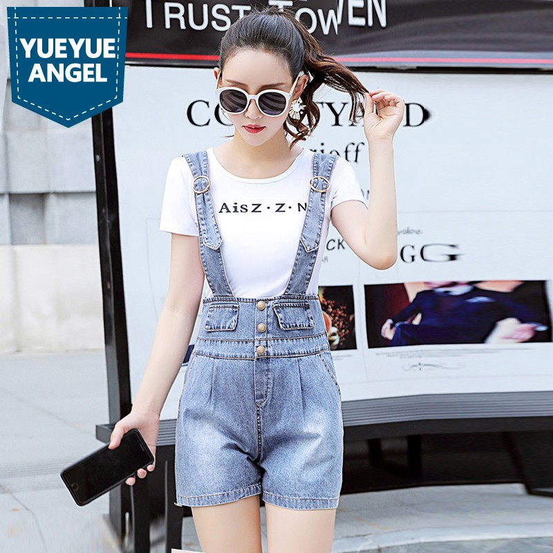 2019 New Korean Denim Playsuits Women Loose Fit High Waist Wide Leg Short Jumpsuits Ladies Casual Single Breasted Jeans Clothes(China)