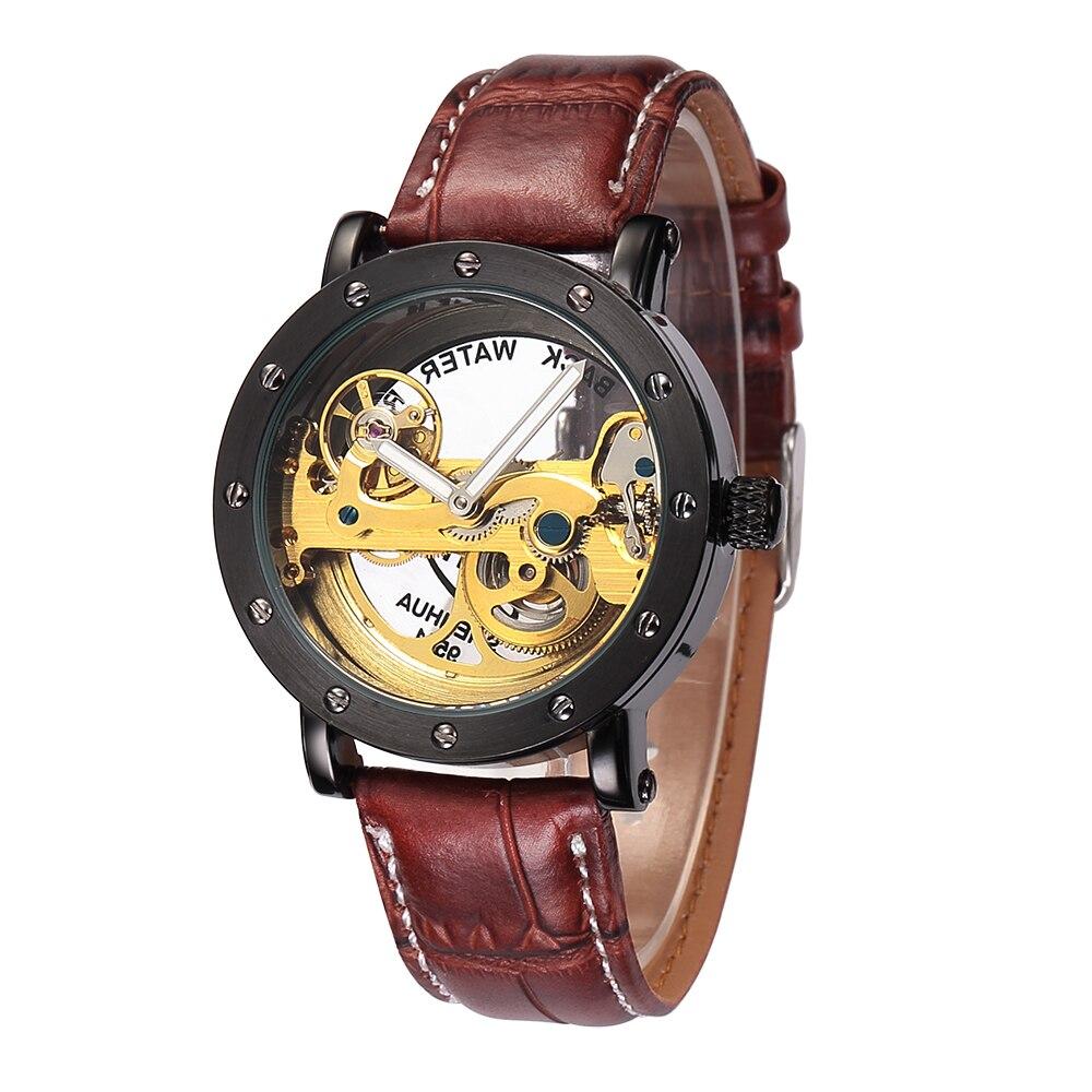 Shenhua автоматические механические часы мужчины топ бренда роскошные кожаные Нержавеющаясталь Прозрачный Скелет часы Relogio Masculino